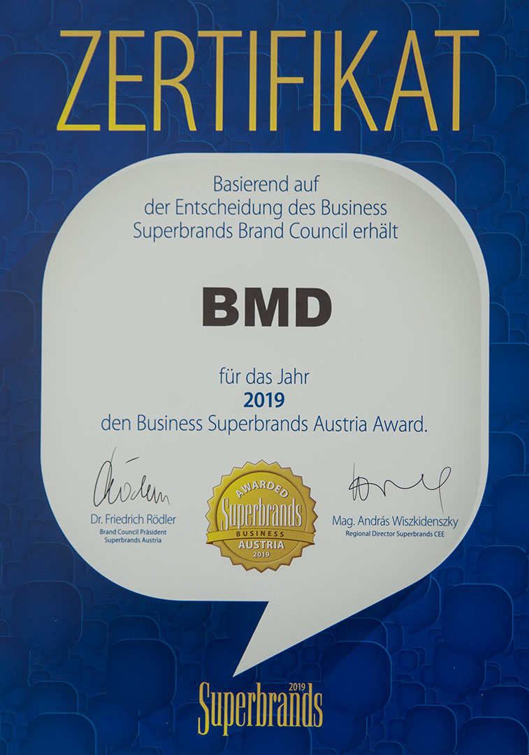 BMD Business Software – eine herausragende Marke Business Superbrands Zertifikat erstmals an Softwarehaus verliehen